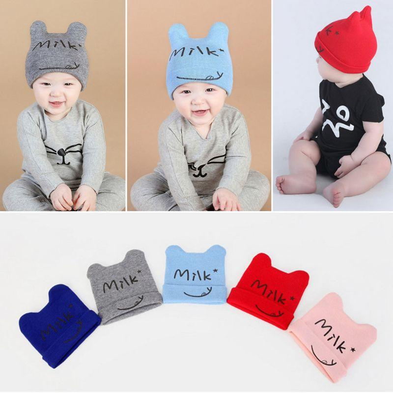 d74096d82cd 2019 Newborn Infant Baby Sweet Winter Ribbed Knitted Hat Letters Printed  Candy Color Cuffed Beanie Cap With Cute Ox Horn Ear Warmer From Jumeiluo