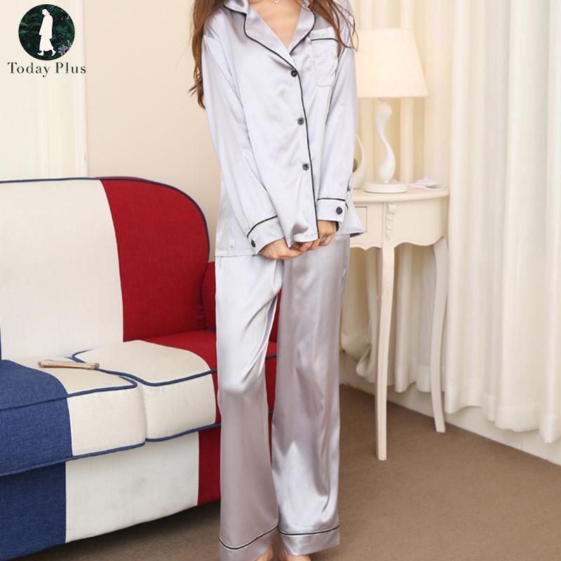 90d5a10780c Silk Nightwear Sleepwear Women Pajamas Loungewear Pajama Set Casual ...