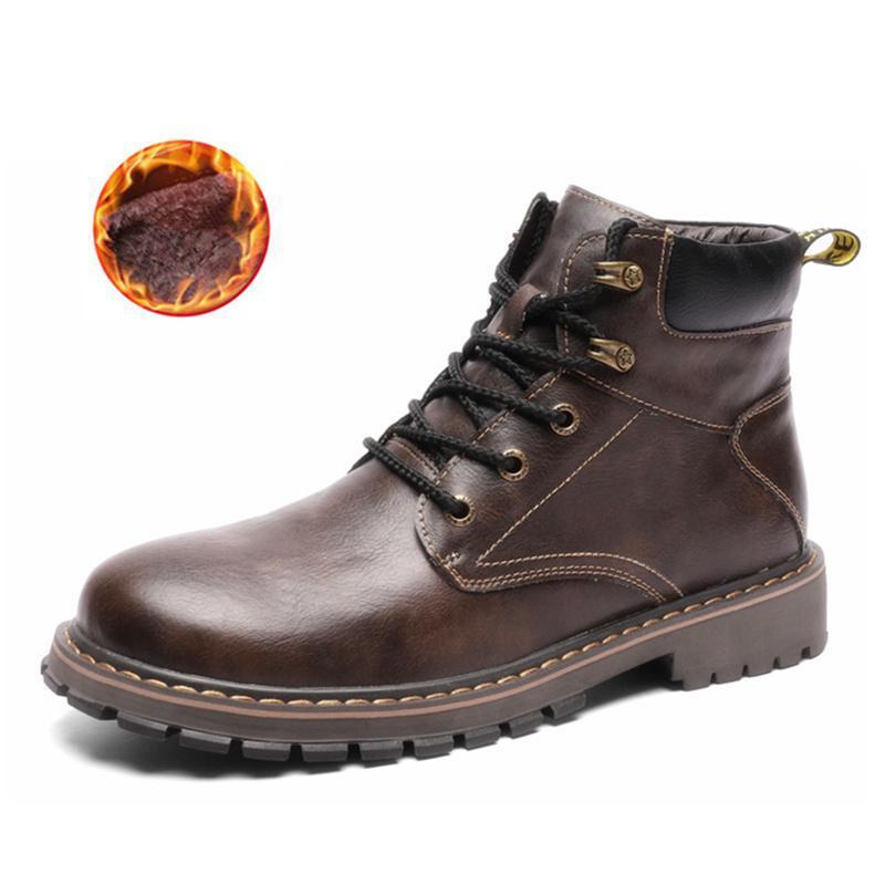 b0788caf78d Compre Botas De Invierno De Los Hombres De Cuero Genuino De Los Hombres  Zapatos Casuales De Invierno Cálidos Hombres De Piel Botines Con Cordones  Dr Martins ...