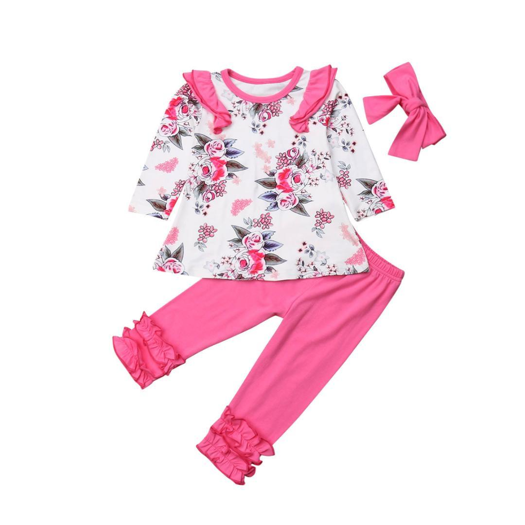 3Pcs Kids Girls Floral Tops Shirt Long Pants Headband Pink Outfits Clothes