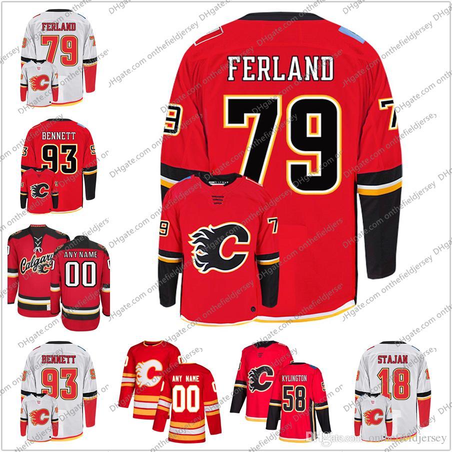 timeless design 6cbc5 1cde7 Calgary Flames #93 Sam Bennett 88 Andrew Mangiapane 79 Micheal Ferland 58  Oliver Kylington Stitched Ice Hockey Jerseys S-3XL
