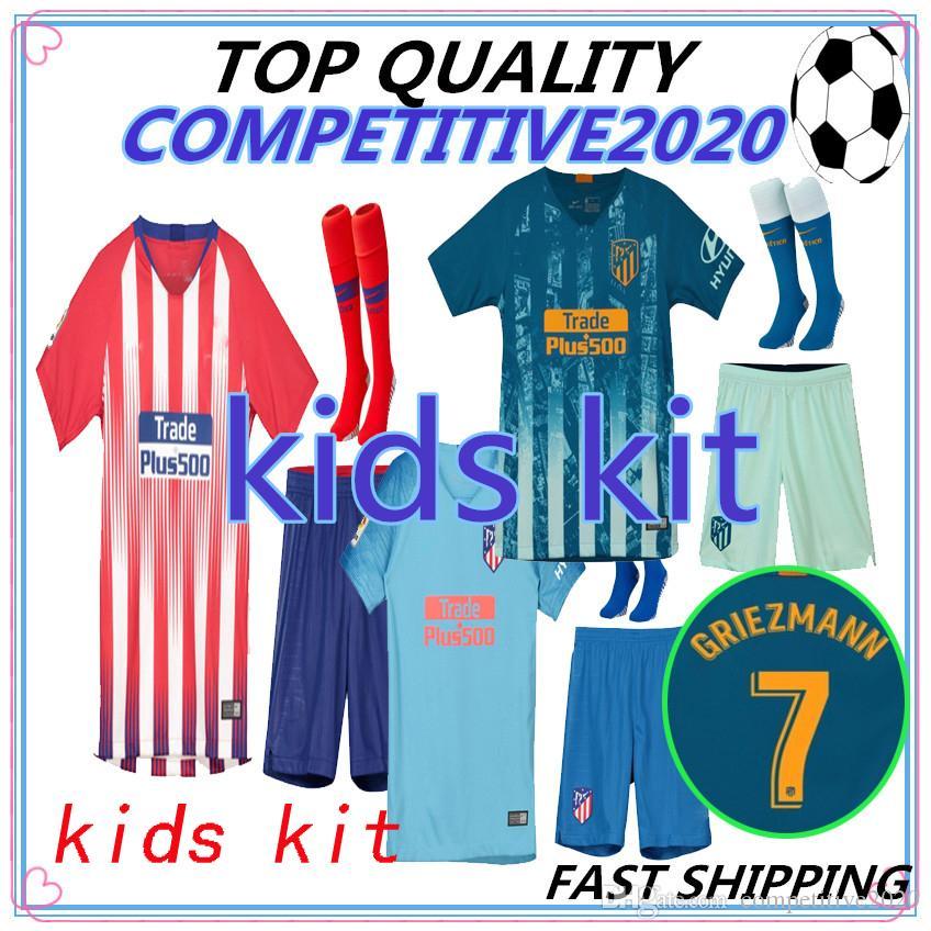 new concept 193b4 80189 kids kit 2018 2019 Atletico Madrid GRIEZMANN Soccer Jersey KOKE Soccer  Shirt Customized SAUL DIEGO COSTA 18 19 atletico boy short football