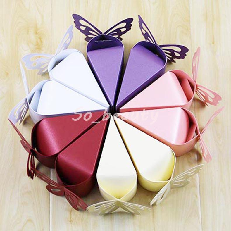 Wedding Favor Boxes.100pcs Butterfly Cake Style Candy Boxes Laser Cut Wedding Favor Baby Shower Birthday Sweet Party Gift Box