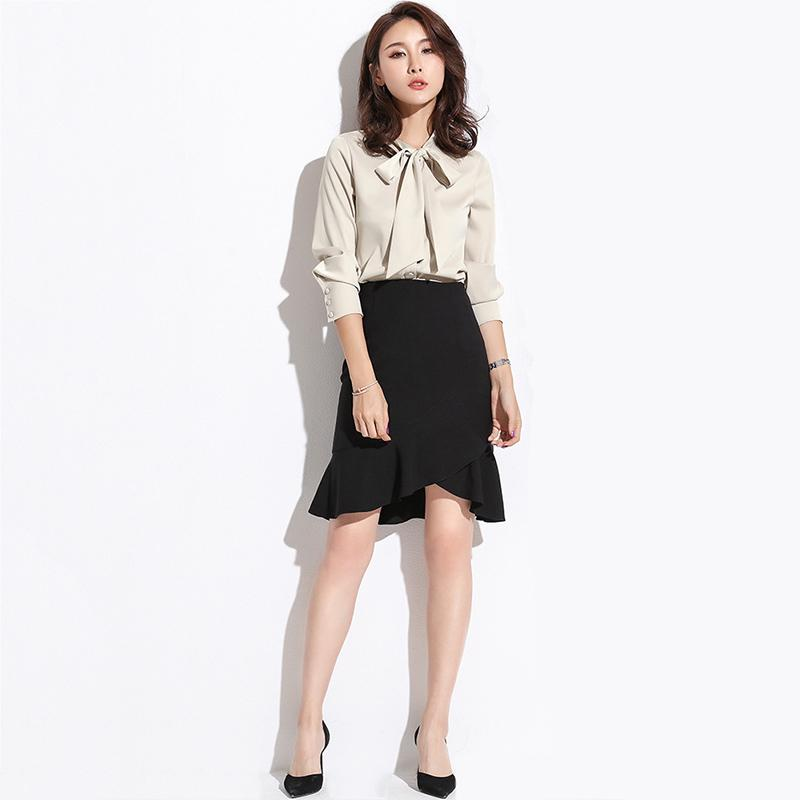 f1b64186078 2019 summer new women s Korean version of the temperament wild Slim  business attire fishtail skirt high waist bag hip skirt