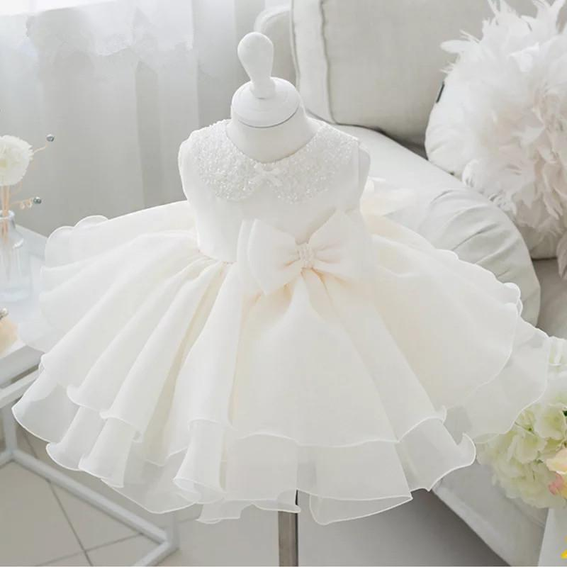 0e13b3407387f Pink Tulle Newborn Baby Girl 1st Birthday Dress Bead Bow Little Girl  Clothing Tutu Dress Infant Baptism Christening Clothes