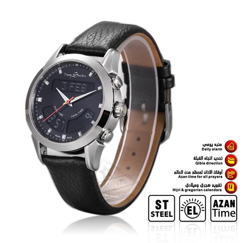 1 Pieces Muslim Watch TimeStory Alfajr WA-10 32mm Genuine Leather Strap  Waterproof Islamic Azan Watch Men Watches