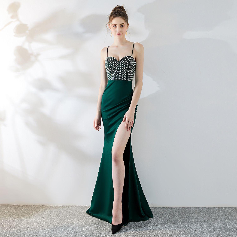 9f61192c35a98 Koyu Yeşil Abiye 2019 Spagetti Mermaid Balo Elbise Boncuklu Afrika ...