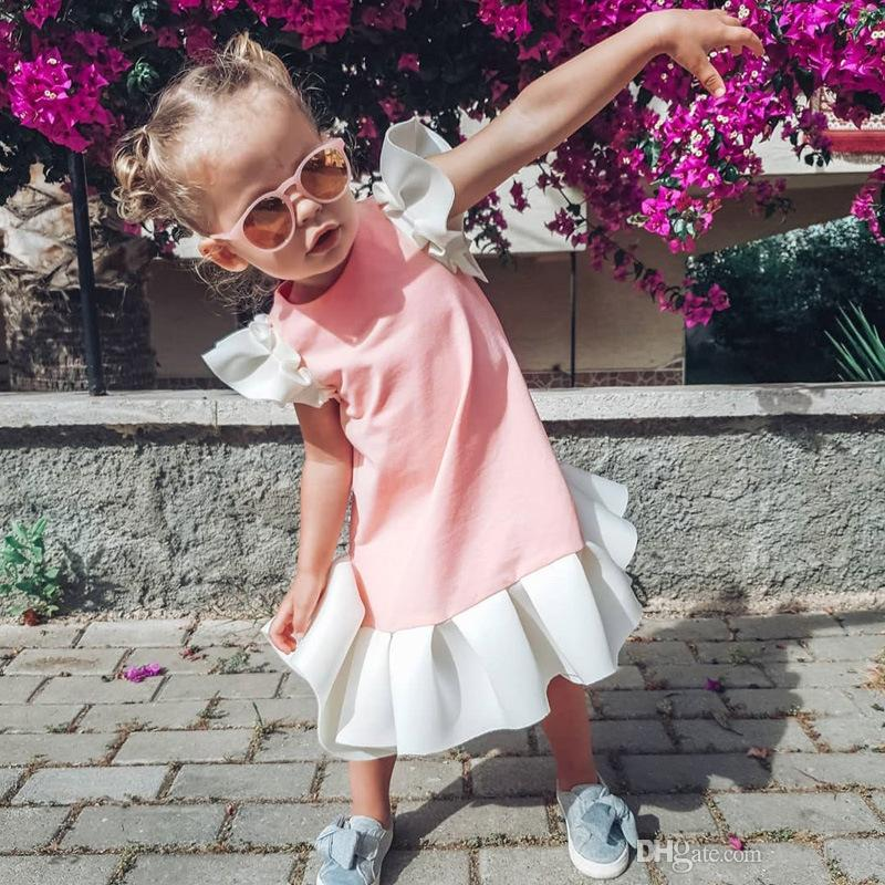 Baby Solid Color Dress Kids Girl Designer Clothes Small Flying Sleeve Dress Cotton Pleated Lady Skirt 19