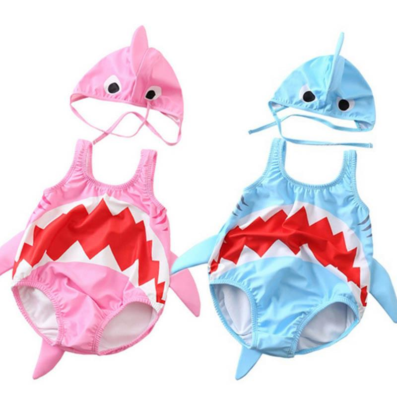 Cute baby shark kids swimwear baby Swim Suits Kids Bathing Suits Toddler Sets Beachwear Infant Bikini Two-piece Baby Swimwear A3724