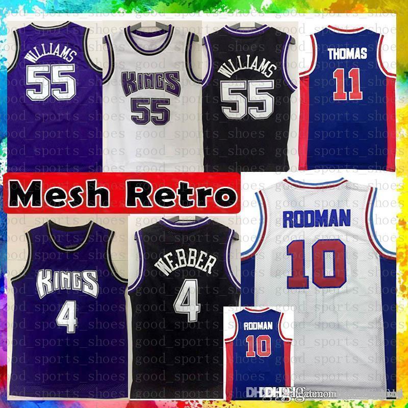 Detroint Pistons Isiah 11 Thomas Dennis 10 Rodman Baseketball Jersey Chris  4 Webber Jason 55 Williams Sacramento Jerseys Mesh Retro