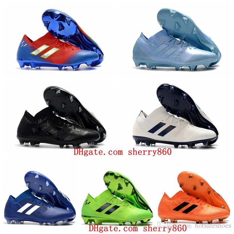 the latest 3b0e9 f4698 2019 2019 New Mens Soccer Cleats Nemeziz Messi 18.1 FG Soccer Shoes Nemeziz  18 Chaussures De Football Boots Chuteiras De Futebol Orange Original From  ...