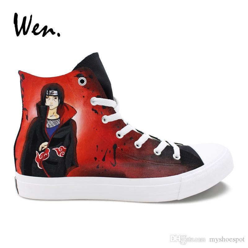 d6055caa9017f Wen Hand Painted Shoes Design Naruto Itachi Jiraiya Anime Sneakers High Top  Canvas Cosplay Shoes Female Black Male Platform Flat #54868