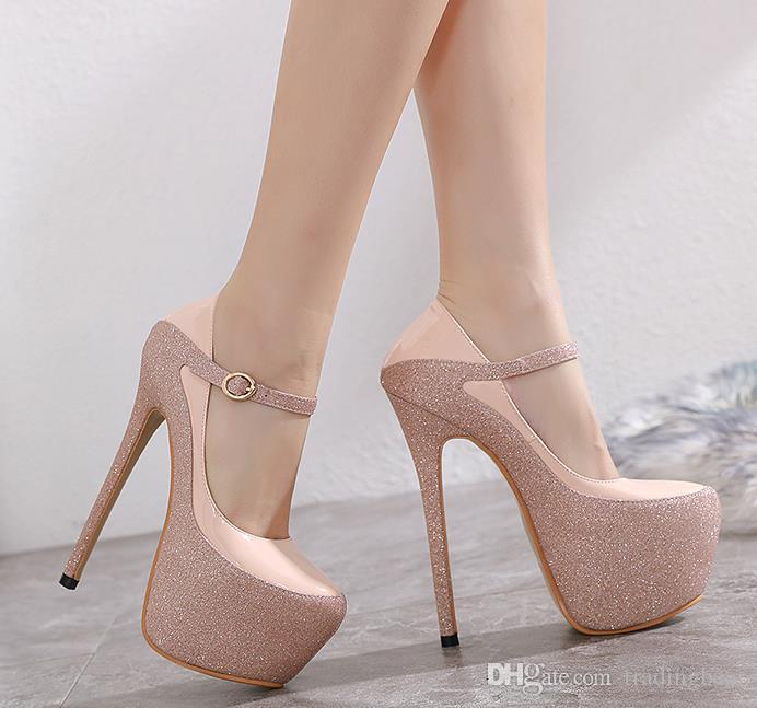 glitter sequined nude pink platform ultra high heel 16cm luxury women designer pumps size 34 to 40