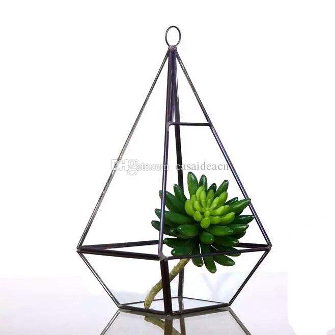 Hohe Pyramide Hangende Terrarium Hochwertige Glas Messing Pflanzer Fur Sukkulente Kakteen Moderne Geometrische Mittelstuck Vase Schwarz Gold