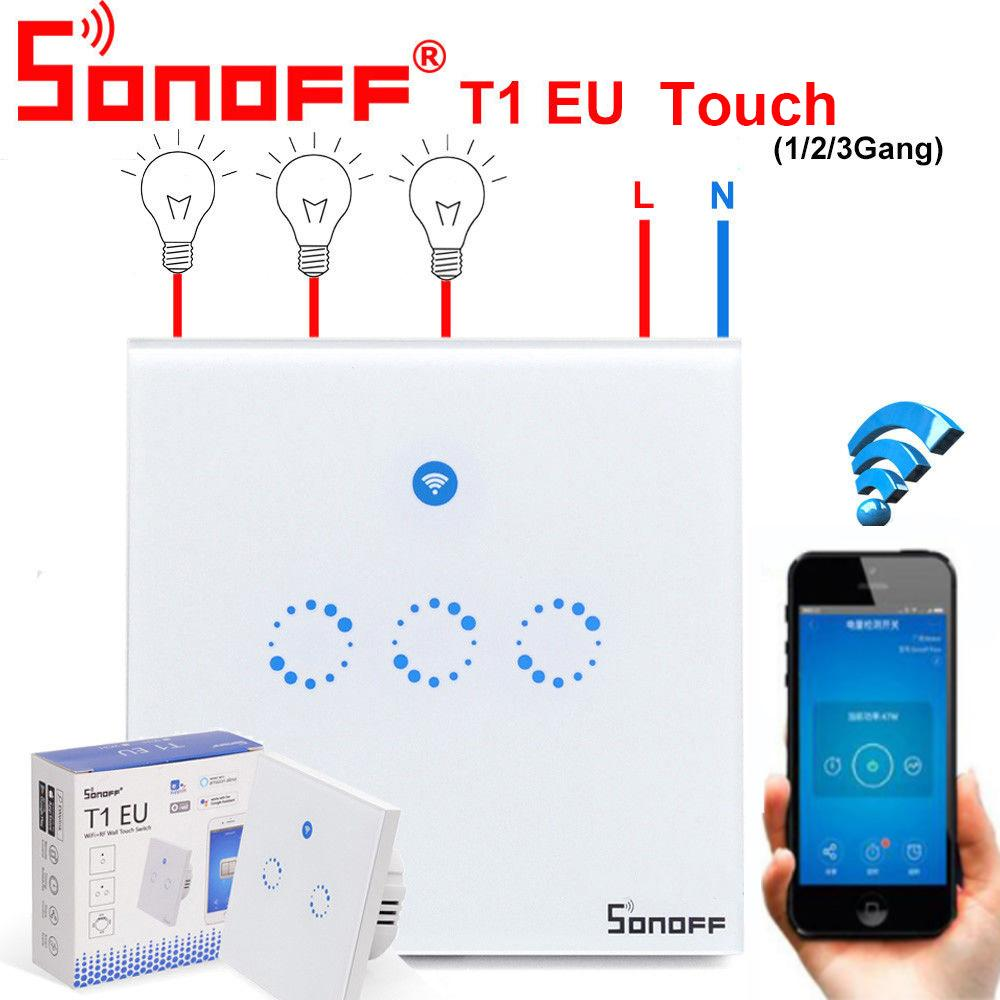 Sonoff T1 Touch Smart Switch EU WiFi & RF 86 Type Smart Wall Touch Light Switch Remote Control Home Automation Module