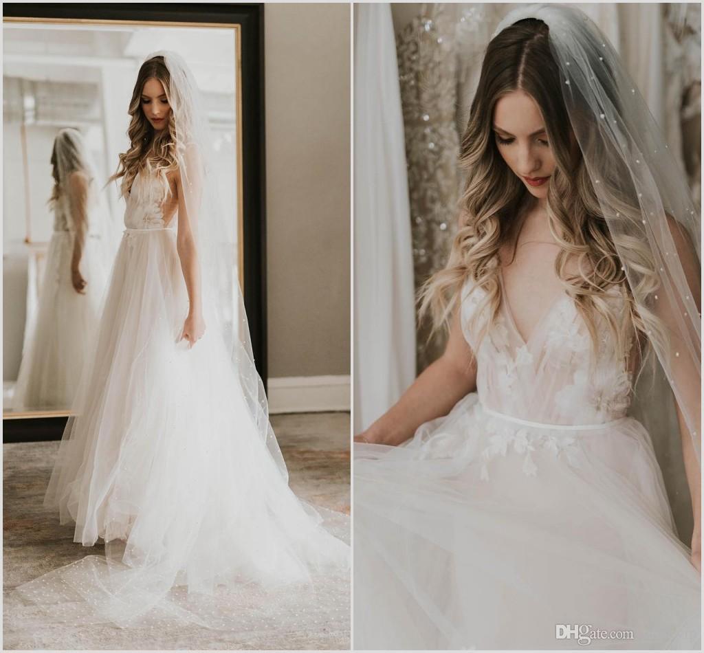 fcc8265c5c0 Discount 2019 Fairy Beach A Line Wedding Dresses V Neck Lace Appliques Bridal  Gowns Plus Size Wedding Party Gown Robe De Mariée Bridal Shops Bride Dresses  ...