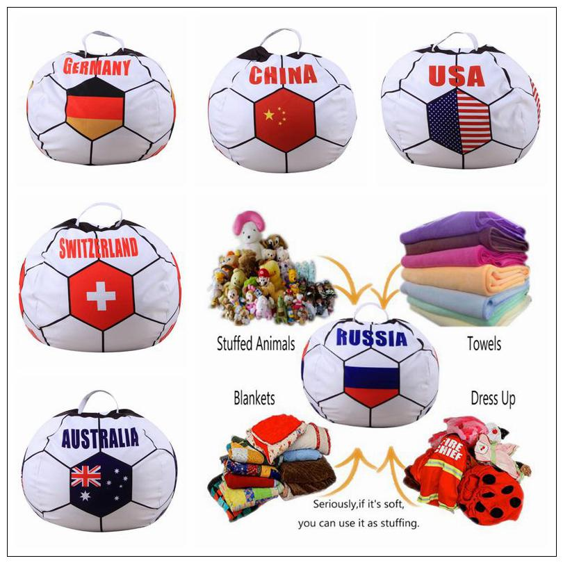 26 inch Russian World Cup Storage Bean Bag Baby Stuffed Animal Football World Cup Pouch Bag Organizer Beanbag CCA9444 10pcs