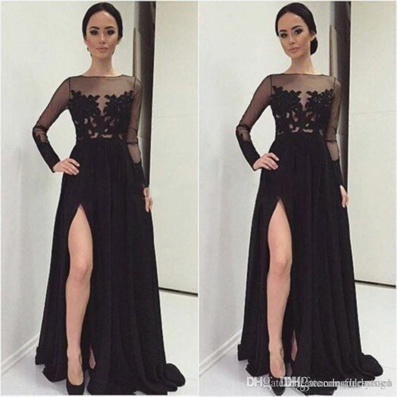 Evening Dresses Lace Black Prom Dress