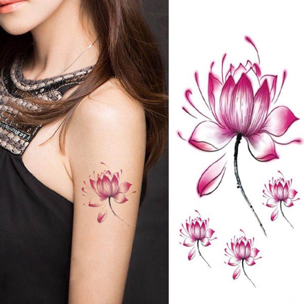 Waterproof Temporary Tattoo Sticker pink Lotus tattoo for girls tatto sticker flash tatoo fake tattoo flower Body Art 10*6cm