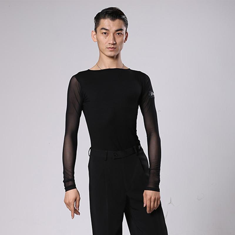 50f706ef0 Camisa de baile de salón de baile de los hombres top latino negro de manga  larga masculina Samba Salsa bailando ropa Ropa de entrenamiento de los ...