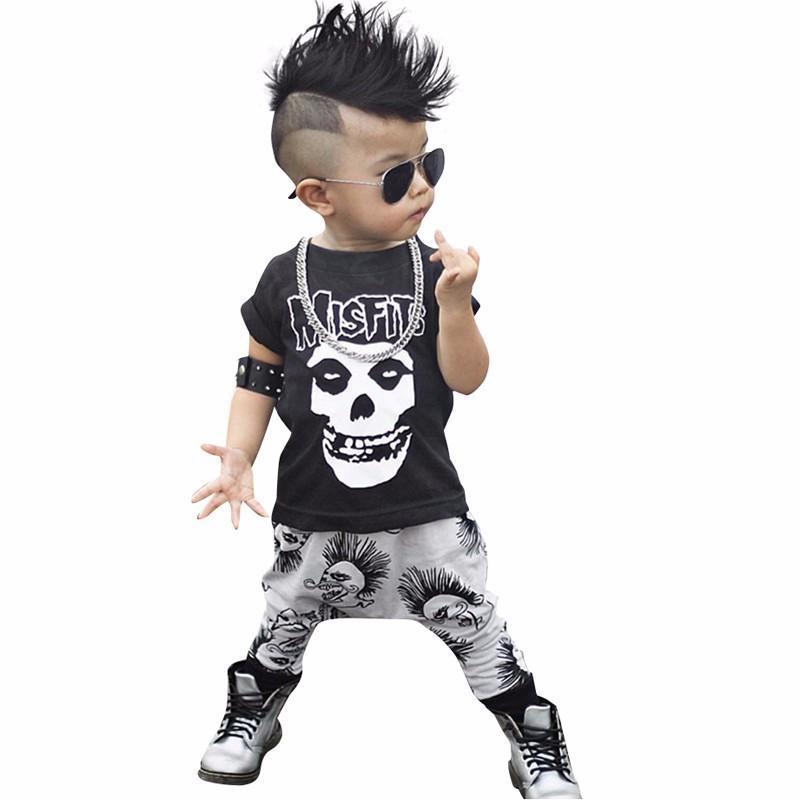 fd2c1f247dc Compre 2019 Nuevo 2 Unids Recién Nacido Niño Niños Cráneo De Manga Corta Infantil  Bebé Niños Niñas Ropa De Verano Camiseta De Algodón Pantalones Trajes ...