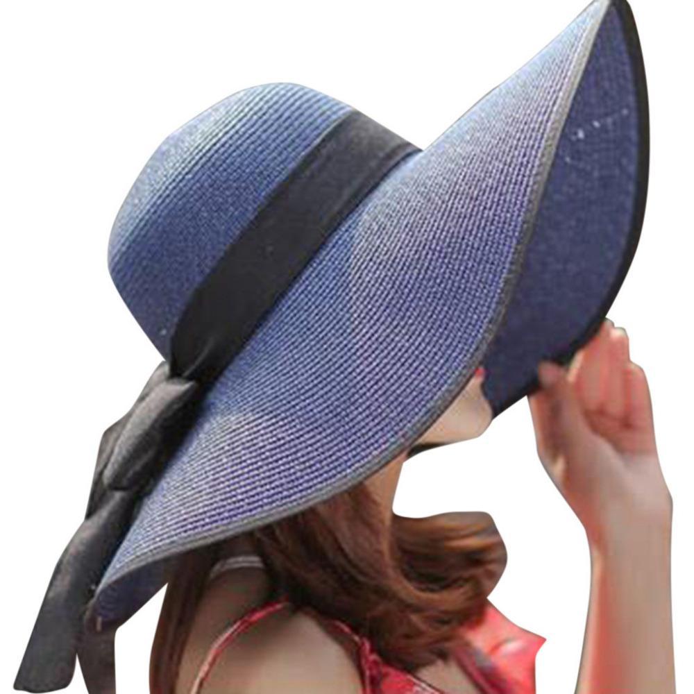 174b4687eb553 Women Big Brim Straw Hat Sun Floppy Wide Brim Hats New Bowknot Folding Beach  Cap 316 Hats Bucket Hats From Melontwo
