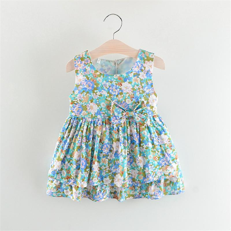 7ff5df3e99d6 BibiCola Baby Girls Dress New Fashion Sleeveless Girls Party Dress Floral  Print Dresses Tutu Dress Beautiful Kids Clothes