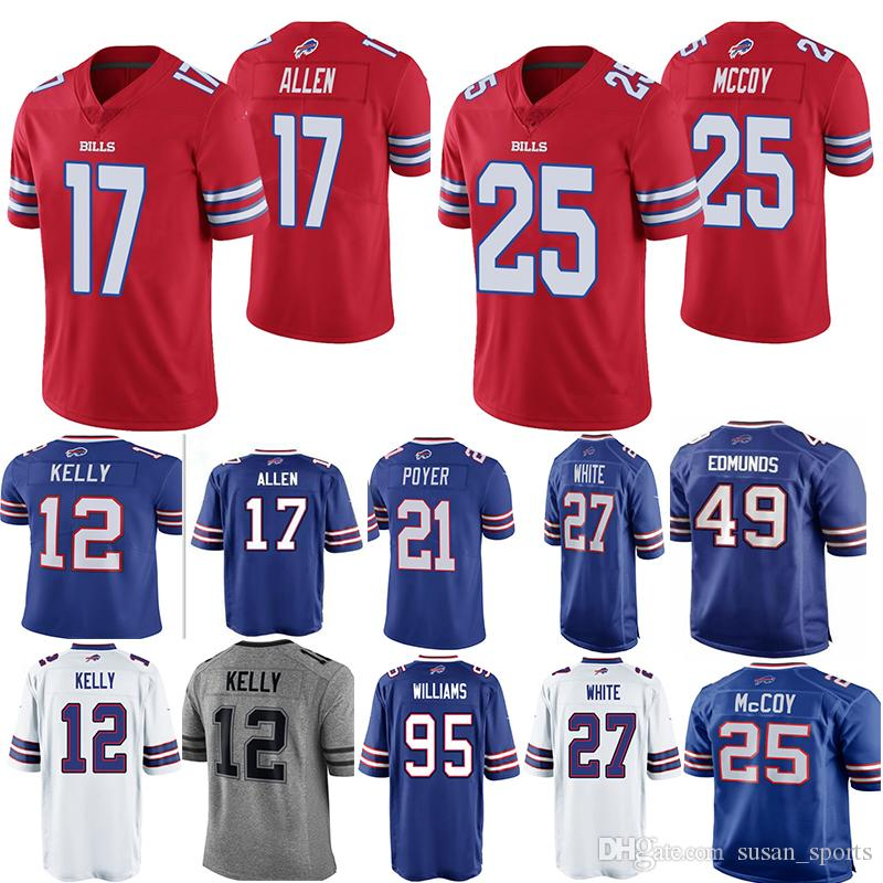 online store 1a785 31011 17 Josh Allen Jersey Bills 49 Tremaine Edmunds Kelly 25 LeSean McCoy 27  White Tyrod Taylor Thomas aDareus 95 Kyle Williams 21 Poyer Jerseys