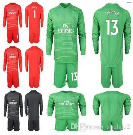new concept 29f39 43e23 18/19 Soccer Goalkeeper 1 Petr Cech Jersey Set Men 13 David Ospina 19 Bernd  Leno Football Shirt Kit Adukt Custom Name Number