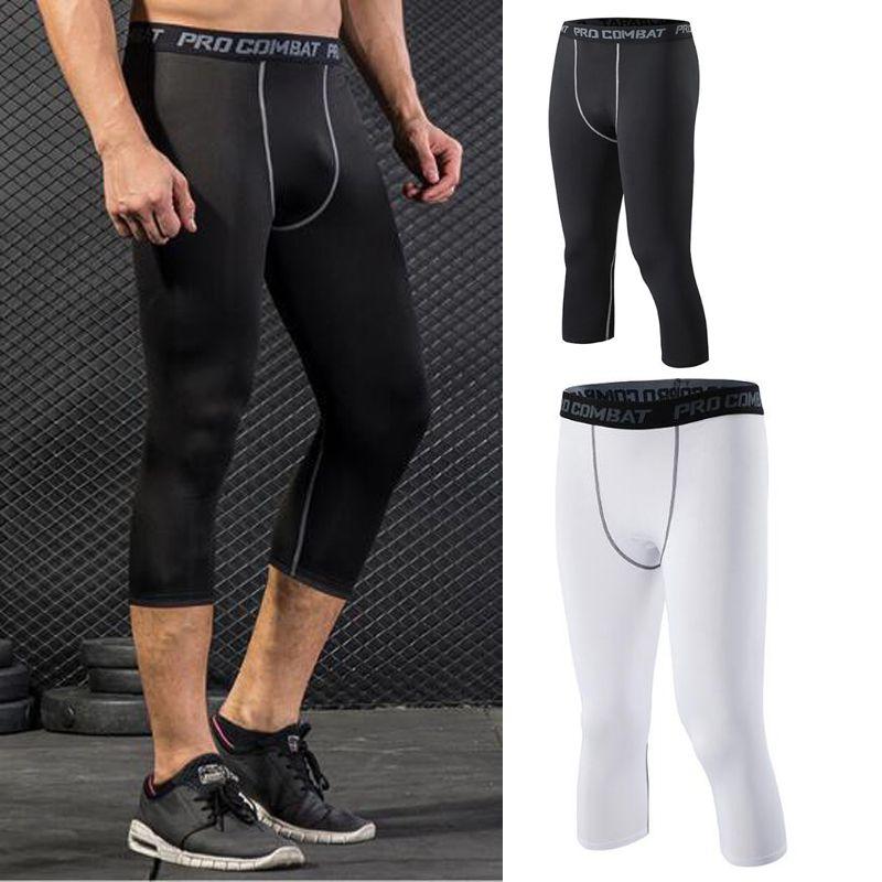 b5fef76ce 2019 Mens Legging Capris Men Combat Athletic Skinny Compression Basketball  Training Legging Run Gym Track Sport Tight Pants Fitness 200CM XZT047 From  ...
