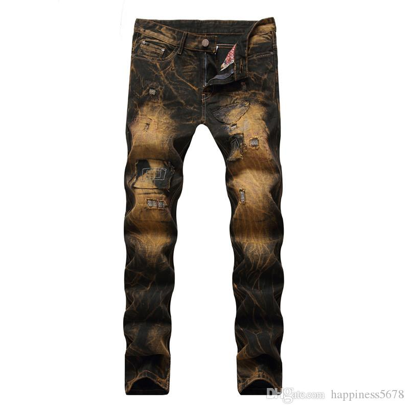 2019 New Style Men Casual Vintage Ripped Jeans Hip Hop Distressed Punk Retro Denim Trousers For Male Patchwork Gold Pants