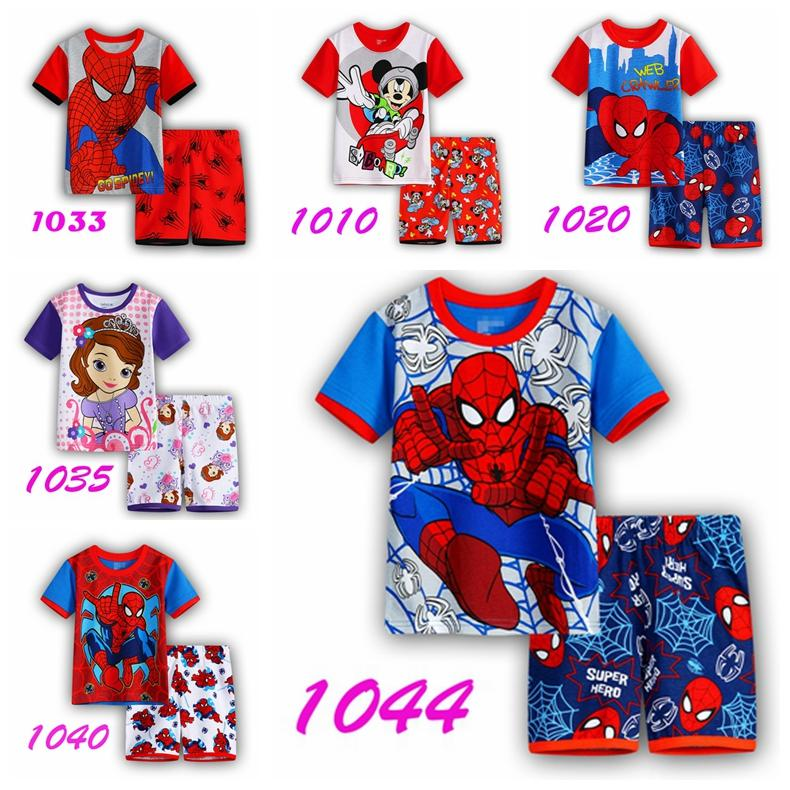 2017 Newest Summer boys Cartoon Clothes Set Kids Top Suits Chiffon T shirt + short Pants 2 PCS Boutique Short Baby boy Clothes