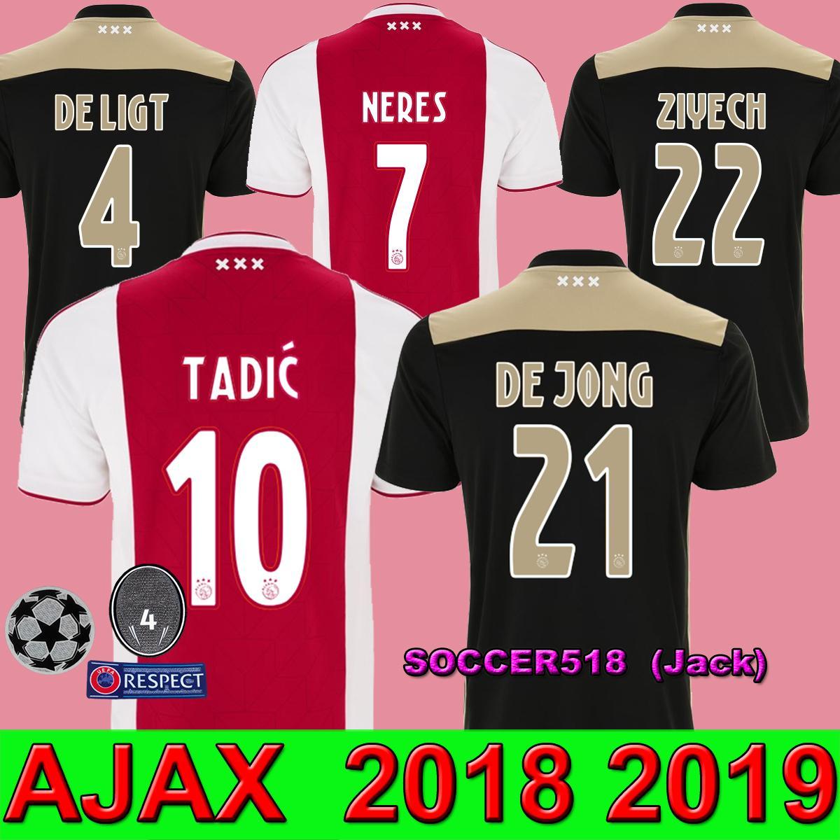 560e8ad1a 2019 Ajax Amsterdam DE JONG SCHONE 2019 Home Red Soccer Jerseys NERES TADIC  DE LIGT Away Black Football Shirts ZIYECH DOLBERG Maillots De Foot From ...