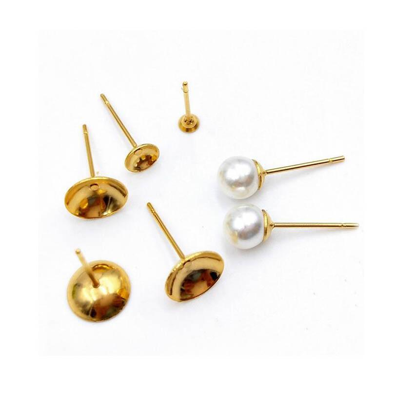 989310dbf Stainless Steel Stud Earrings Post Base Blanks Settings with Circle Bezel  Pearls Cabochon Ear Pins DIY Findings Silver Gold Tone Online with  $80.38/Piece on ...