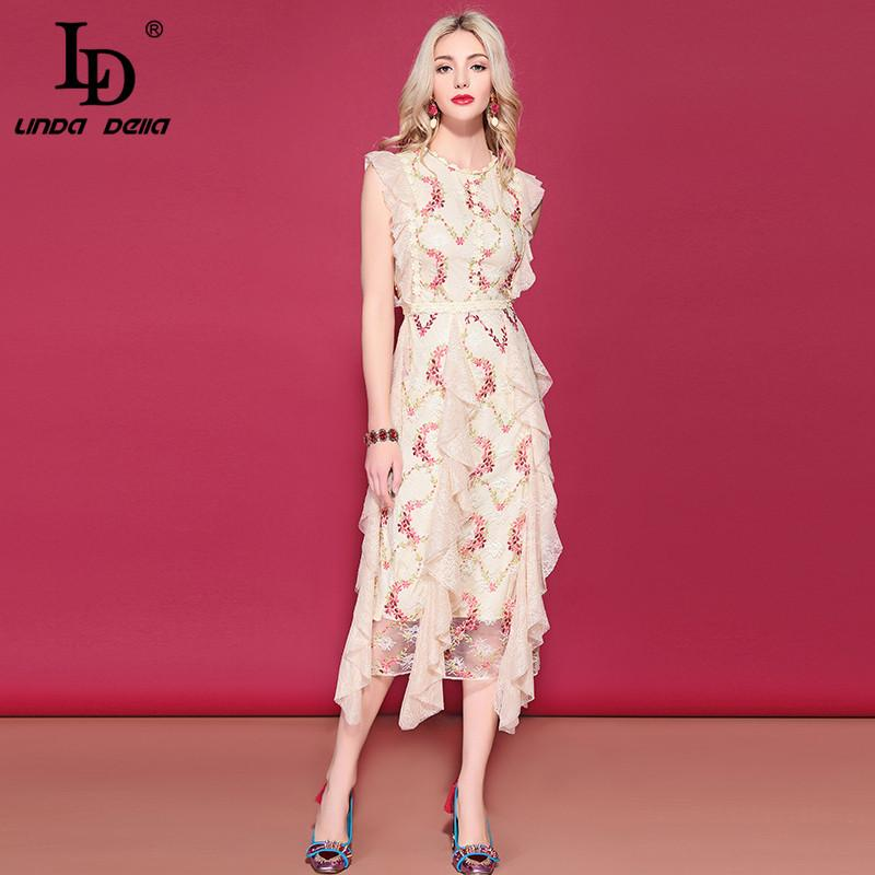 wholesale 2019 Runway Summer Holiday Dress Women's Sleeveless Mesh Lace Flower Embroidery Mid-Calf Ruched Ruffles Dress