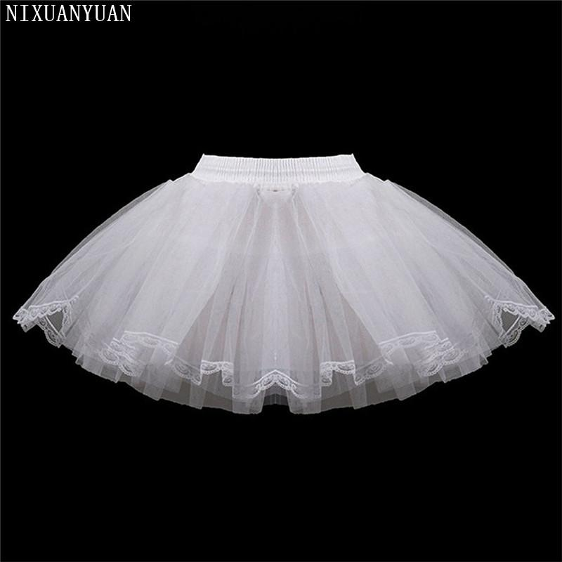 White Short Girls Wedding Petticoats Three Layers Lace Edge Tulle Boneless Petticoat Simple Mini Underskirts For