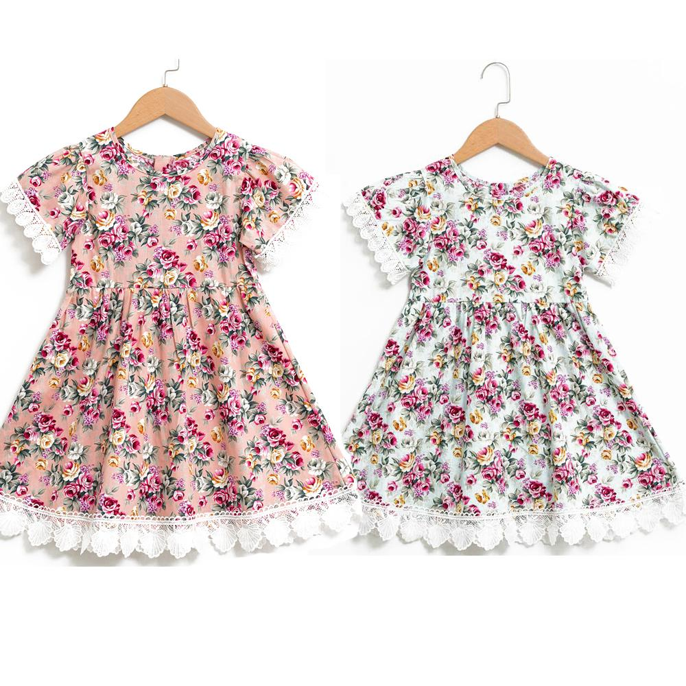 2c80899c90df 2019 Vintage Retro Little Girl Sundress Floral Flower Printed Summer Dress  For Kids Rose Party Toddler Birthday Size 1 To 10 Years From  Thousandkisses, ...