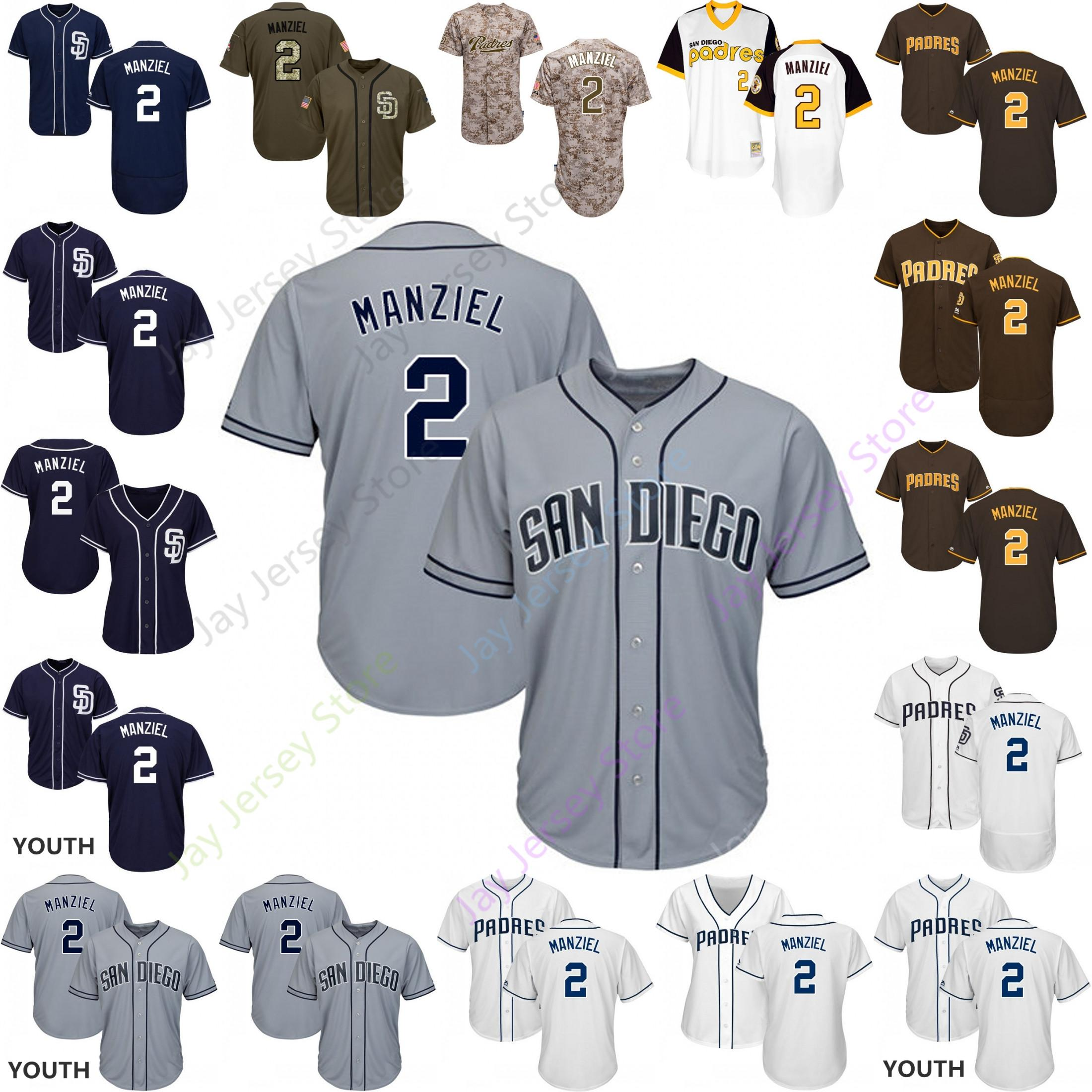 quality design 82f7d f90f4 Custom San Diego 2 Johnny Manziel Jersey Padres Jerseys Cooperstown Cool  Base Flexbase White Black Red Grey Home Away Men Women Youth Cheap
