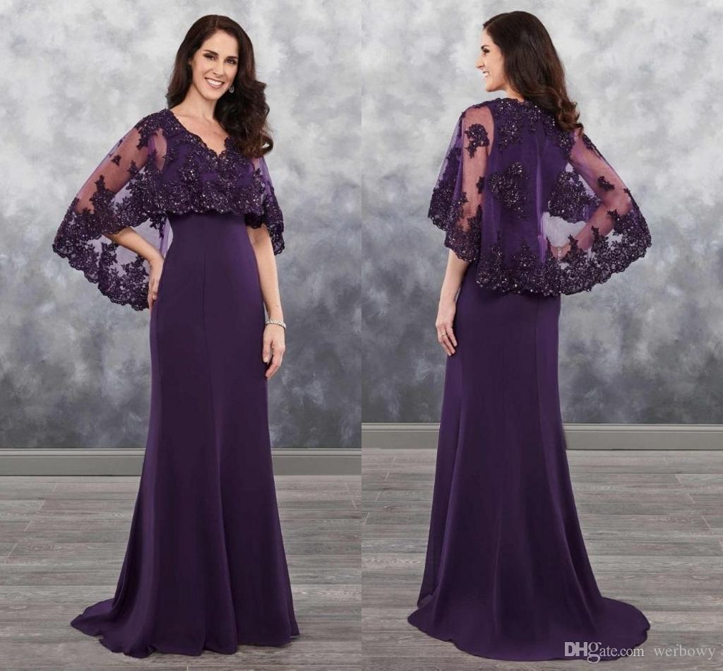 2019 Dark Purple Mother Of The Bride Dresses Chiffon With Bolero Applique Shining Sequins Lace Chiffon Wedding Guest Dress