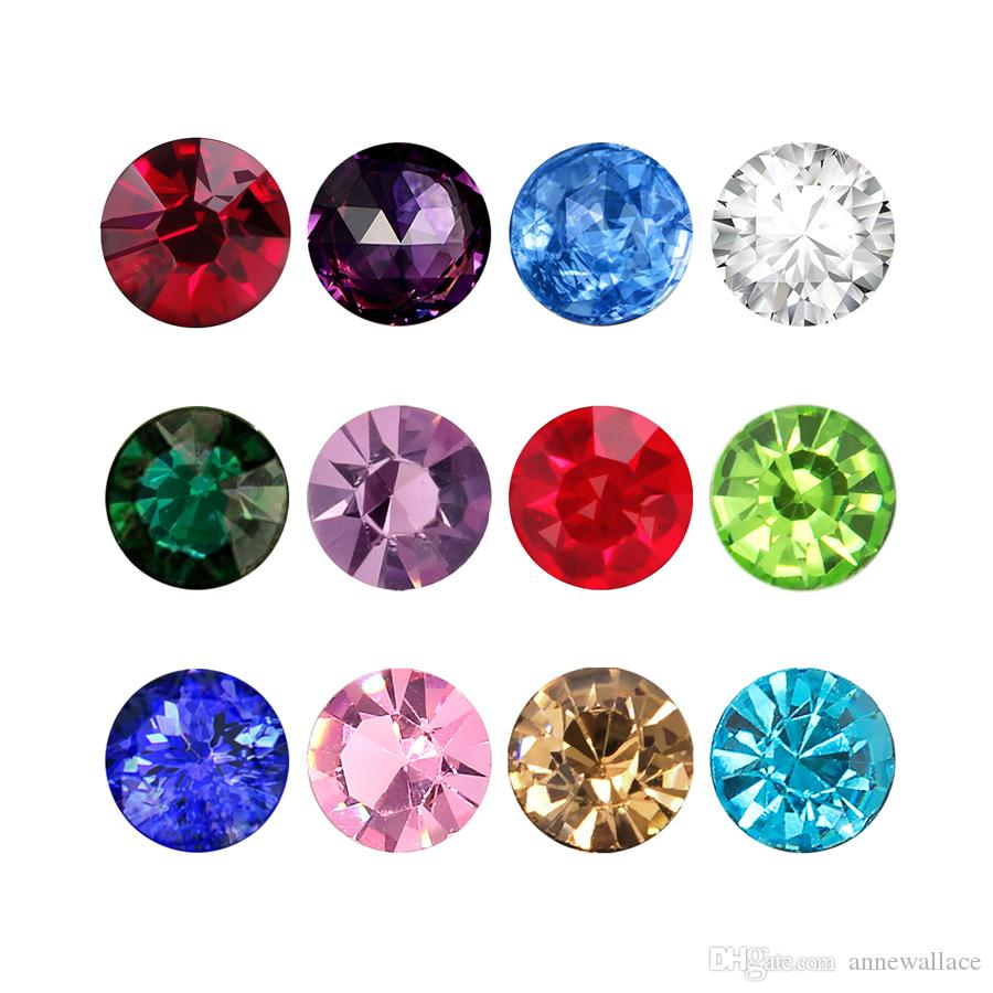 120pcs/lot 3mm/4mm/5mm round glass birthstone birthday stones floating charms 12 colors each color 10pcs free shipping for memory lockets