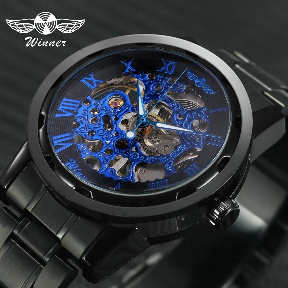 2019 Winner Mechanical Watches For Men Hand-wind Steel Watches Roman Number Skeleton Wristwatches Luminous Hands Reloj Hombre J190706