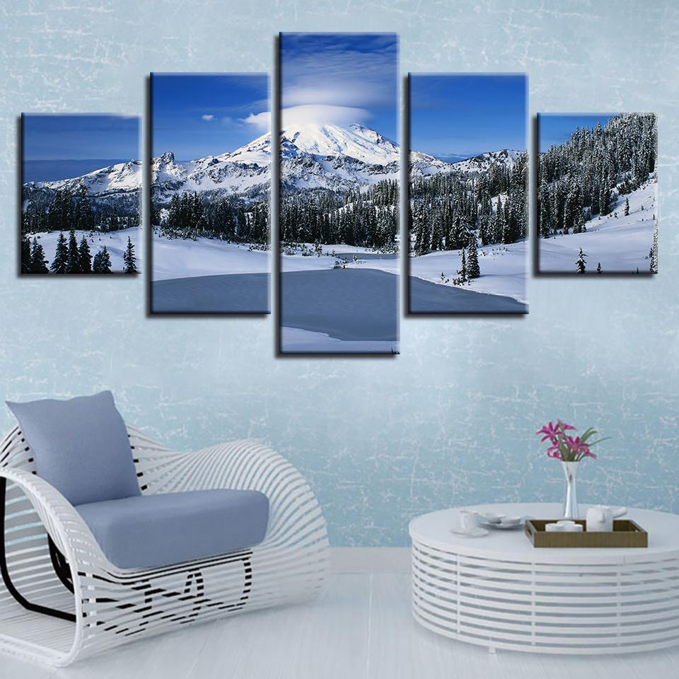 Canvas HD Prints Pictures Wall Art 5 Pieces Beautiful Winter Snow Mountain Scenery Paintings Home Decor Poster Modular Framework