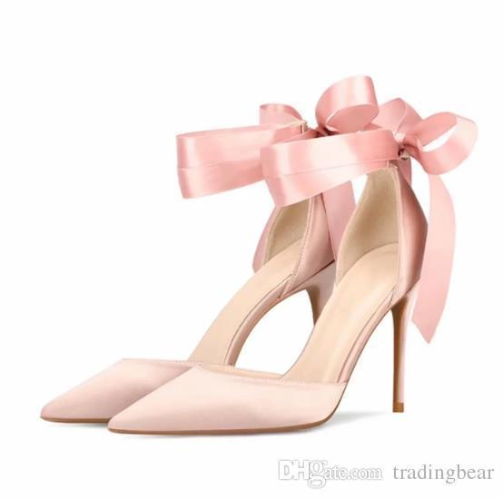 ece22541a76 Sexy2019 Sweet Bowtie Ankle Wrap Satin Shoes Pointed High Heels Beige Pink  Size To Cheap Heels Comfort Shoes From Chagall