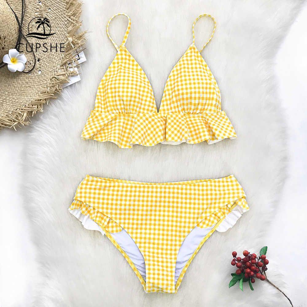 96bc1e8e8494b9 2019 Cupshe Yellow Gingham Ruffled Bikini Sets Women Sweet Two ...