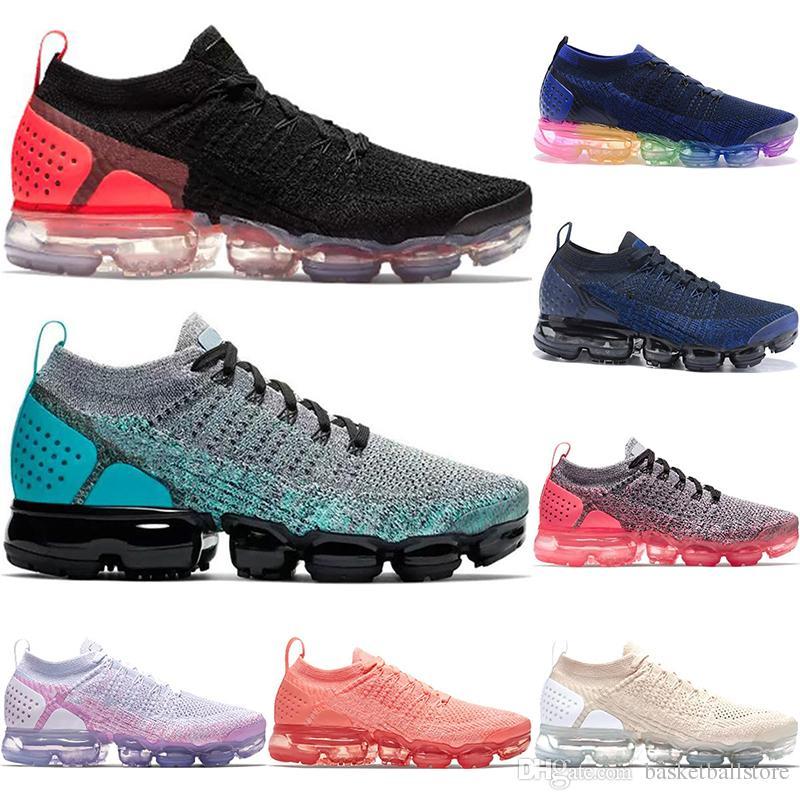 wholesale dealer 8dda0 caf27 Acheter 2018 New Rainbow Nike Air Vapormax Flyknit 2.0 Chaussures De Sport  Pour Hommes Chaussures De Course BE TRUE Or Blanc Rouge Rose Chaussures De  Course ...