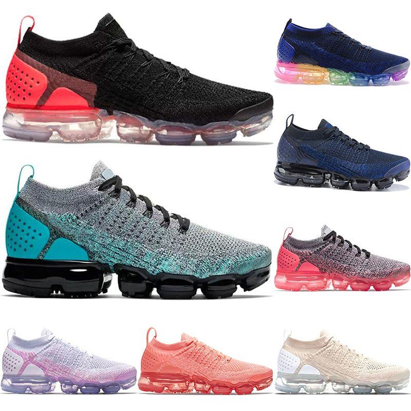 size 40 156e2 6041f Nike Air Vapormax Flyknit 2018 New Rainbow 2.0 Mujer Zapatos Deportivos Para  Hombre Zapatillas De Deporte SEA VERDADERO Oro Blanco Rojo Rosa Zapatillas  De ...