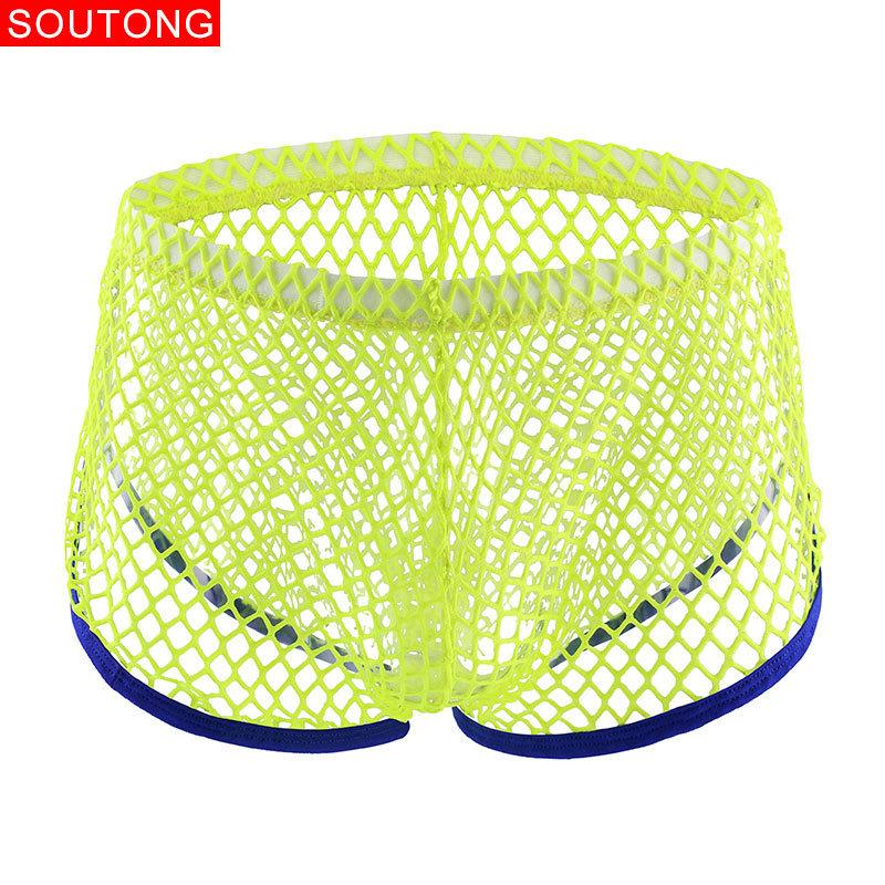 Soutong Sexy Men Mesh Transparent Boxer Gay Breathable Boxers Shorts Comfy Underwear Ropa Interior Hombre St63 C19041601