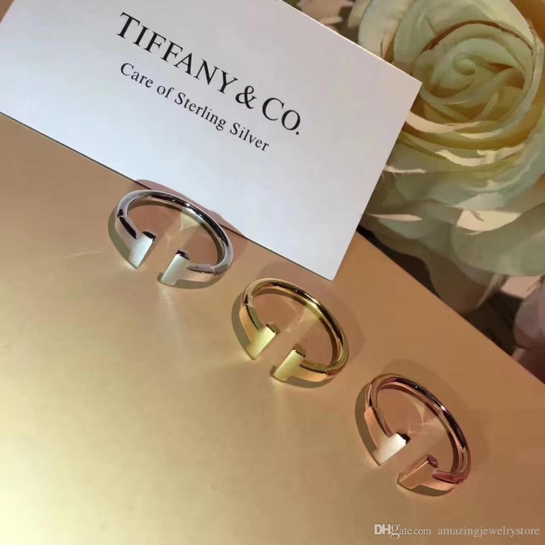 S925 Sterling silver luxurious double T shape punk opened ring stamp logo charm ring jewelry christmas day jewelry PS6476