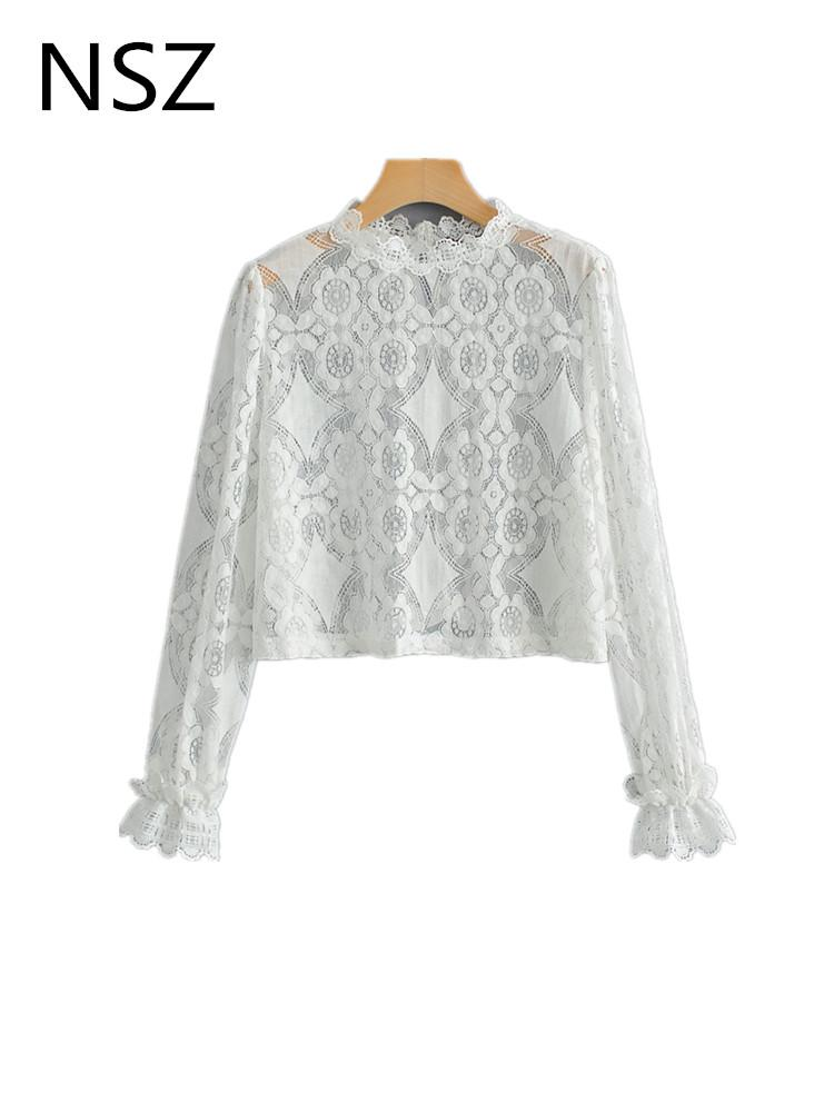 c424820ec1f2a NSZ Women White Lace Shirt Sexy See Through Blouse Transparent Crop Top  Flare Sleeve Short Shirt