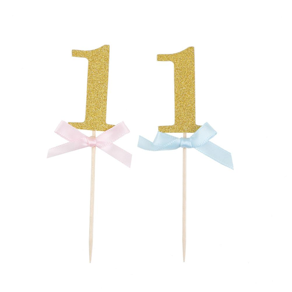 I AM ONE Year Gold Boy Girl 1 Anniversary Paper Supplies First Birthday Cupcake Toppers 1st Party Decorations
